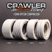 "Foams do not need to be confusing!  Here are some basics you need to know...  #1. The Crawler Innovations Double Deuce, Lil Nova and Deuce's Wild Foam Systems are based on the weight and intended use of the your RC Vehicle, not the overall height of the tire.  #2. The closed cell foam is water proof, and air tight. The tire must be vented to allow the foam and the tire to properly conform to the rock surface. No air movement = No tire conformity  #3. Crawler Innovations always recommends stepping up one outer density for the rear foam pair of your RC Vehicle. The reason being is that the weight of the RC vehicle transfers to the rear tires on a climb.  #4. There is no one magical foam that does it all. If you want maximum rock crawling traction, you need a Dual Stage foam. If you want maximum speed with no tire enlargement, you need a Deuce's Wild Single Stage. Crawler Innovations offers a number of tuning aids that will allow you to finely tune your foams, once you've reached that level of understanding. Not everyone wants to be a Pro RC driver, some are happy weekend warriors.  #5. Wheel Weights: Crawler Innovations highly recommends knuckle weights. Do your best to keep rotating weight off your RC vehicle drive train. Your RC vehicle will last longer, perform better, and you can use the saved money from non broken drive train parts for other upgrades.  However, if you do use stick on lead weight around your RC rim, all of the Crawler Innovations Closed Cell Inner Foams will need to be modified to clear your wheel weights without stretching the inner. When you stretch the inner, it increases the Outside Diameter and the foam does not perform as designed. A Dremel with a sanding drum makes quick work of modifying the foam.  #6. Narrow Wheels with Standard Foams. If you have a Dremel with a sanding drum, sand the Closed Cell inner foam at a 45 degree angle so that it matches the width of your clamp ring. All of the VP bead locks are .750"" width clamp rings, 1"" overall. C.I. sells narrow inner foams, but unless your tire is narrowed, it's not properly filling the tire.  #7. Dual Stage Foams and Water: It's a non-issue, even with the tires vented. The closed cell foam PUSHES water away. So even though water might be coming through a 2mm vent hole, only the outer will retain water, but the outer is being flattened as it is being rolled on, thereby, only a minimal amount of water is even allowed in the tire. At the end of your day of fun, simply hand squeeze out as much water as possible from your tires, then run the RC Vehicle at wide open throttle with the vehicle in a elevated position and the centrifugal force will pull most of the remaining water out through the vent holes. Store your RC vehicle in an elevated position to avoid flat spots in the tires and foams.  Outer Densities: White foam / No markings = Soft  Orange dot = Medium  Black dot = Firm"