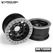 "Officially Licensed Aluminum Method 1.9 Race Wheel 105 by Vanquish Products  Compatible with outer Vanquish OMF 1.9 beadlock rings Based on our popular 1.9 OMF clamp ring bead lock mounting system Rapid fast tire changes with only 5 screws Light weight and strong durability design Grade 5 Stainless Steel hardware High clearance inner wheel well Choose multiple offsets to adjust track width Vanquish Products patented wheel hub system These are a 1.0"" wide wheel (1.2"" to out side of beadlock rings) Carefully designed to be a precise scale replica of the full sized Method Race Wheel Laser engraved Method logo on wheel face    Includes the following:  2pcs Method 1.9 105 Wheel Face 2pcs Rear Ring 1.9 6 Hole 2pcs Clamp Ring 1.0"" Wide 2pcs Beadlock Ring 74pcs 1-64 SHCS (Beadlock Ring Hardware) 21pcs 4-40 SHCS (SLW Hub Hardware)    ****These wheels are not easily compatible with Pro-Line Tires  ****SLW Hubs are not included, so be sure to include SLW hubs in the accessories section below."