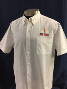 Men's short sleeve button twill shirt white