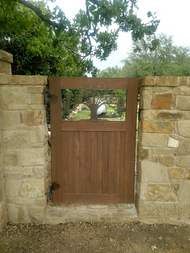 Wood Man Gate with Metal Art Insert