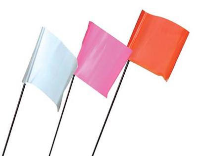 Hanson Wire Flags Shown Individually - White, Pink, Flo.Orange