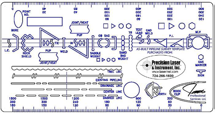 Pipeline, Oil and Gas Drafting Template Stencil