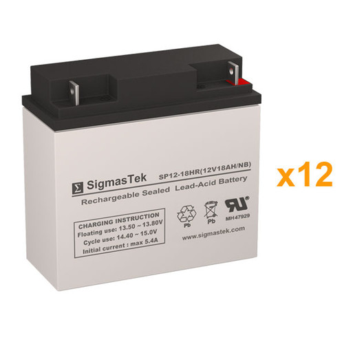 12 Alpha Technologies CFR 7.5K (017-147-XX) 12V 18AH UPS Replacement Batteries