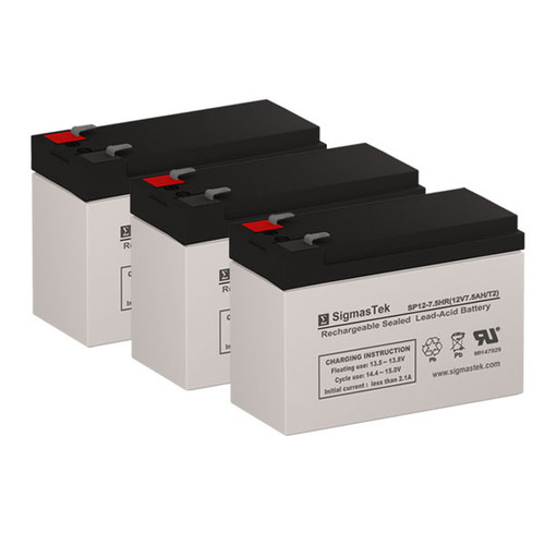 3 Alpha Technologies Pinnacle Plus 1500T 12V 7.5AH UPS Replacement Batteries