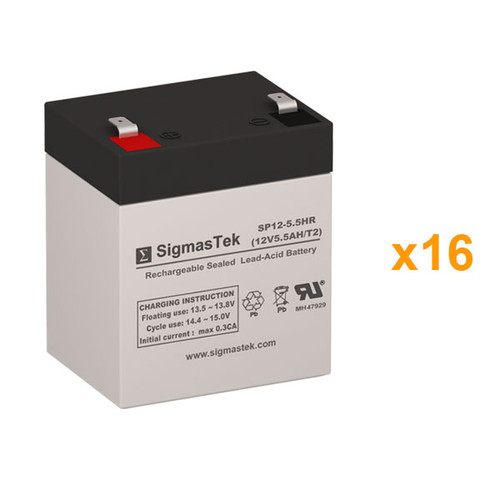 16 APC Smart UPS RT EMC7500RMXLU 12V 5.5AH UPS Replacement Batteries