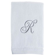 White Initial Fingertip Towel