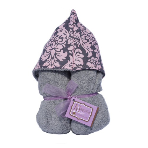 Grey Pink Damask Hooded Towel