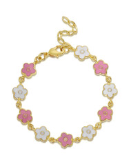 Lily Nily Flower Link Bracelet - Pink & White