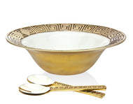 Godinger Greek Key Salad Bowl & Servers