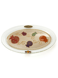 Lily Art Oval Shabbat Tray- Pomegranate Painting