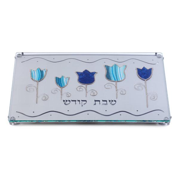Lily Art Challah Tray w/ Laser Cut Blue Tulip Base