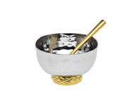 Godinger Herringbone Salt Cellar w/ Spoon (70255)