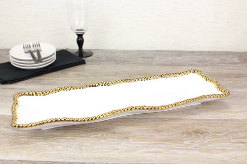 Pampa Bay Golden Salerno Rectangular Serving Tray (CER-2109-WG)