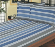 Blue & Grey Stripe Linen Set