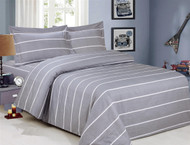French Pleasant Grey Stripe Linen Set