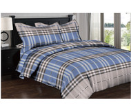Blue Grey Plaid Linen Set