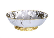 Stainless Steel Crumpled Bowl With Mosaic Base