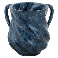 Spiral Design Washing Cup Mock Marble Blue