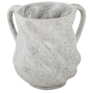 Spiral Design Washing Cup Mock Marble White