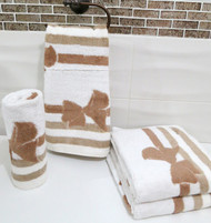Bow Beige Oversized Hand Towel