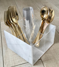 Luxe Marble Design Cutlery Caddy with 4 Sections