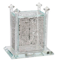 Crystal Tzedaka Box with Silver Floral Cutouts