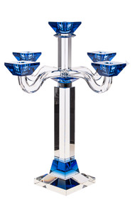 Blue Crystal Candelabra with 5 Branches