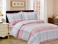 French Pink Grey Plaid Linen Set