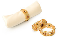 Classic Touch Jeweled Gold Napkin Ring Set