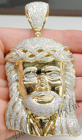 "New Jesus Piece Head Face Yellow Gold 4"" White Diamond 6.43ct 14k Custom Pendant"