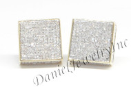 Mens Ladies Earring 10k Yellow Gold White Diamond .80ct Pave Stud Square Custom earring .80ct