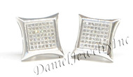 Mens Ladies Earring 10k White Gold White Diamond .38ct Pave Stud Square Custom