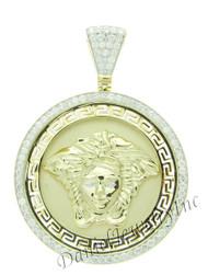 "New Versace Greek Medusa Yellow 14k Gold 3"" White Diamond 4.50ct Custom Medallion"