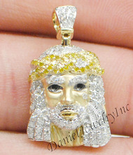 "New Jesus Piece Head Face Yellow Gold 1"" White Diamond .70ct 10k Micro Pendant"