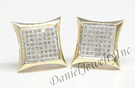Mens Ladies Earring 10k Yellow Gold White Diamond .37ct Pave Stud Square Custom