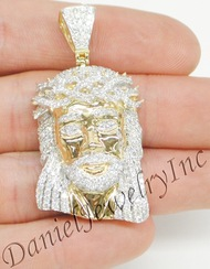 "New Jesus Piece Head Face Yellow Gold 2"" White Diamond 3.39ct 14k Custom Pendant"