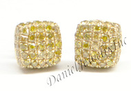 Mens Ladies Earring 10k Yellow Gold Canary Diamond .55ct Pave Stud Square Custom