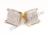 Mens Ladies Earring 10k Yellow Gold White Diamond 1ct Pave Stud Square Custom