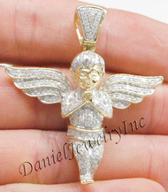 "New Angel Ice Yellow Gold 1 3/4"" White Diamond 1.75ct 10k Medium Pendant"