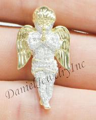 "New Angel Ice Yellow Gold 1 1/4"" White Diamond .55ct 10k Micro Pendant Mini Charm"