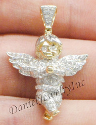 "New Angel Ice Yellow Gold 1 1/4"" White Diamond .70ct 14k Micro Pendant Mini Charm"