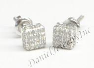 Mens Ladies Earring 10k White Gold White Diamond .40ct Pave Stud Square Custom