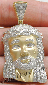 "New Jesus Piece Head Face Yellow Gold 2"" White Diamond .63ct 10k Custom Pendant"