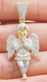 "New Angel Ice Yellow Gold 1 5/8"" White Diamond .95ct 10k Small Pendant Mini Charm"