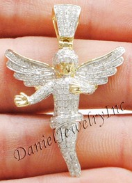 "New Angel Ice Yellow Gold 1 3/4"" White Diamond 1.37ct 10k Small Pendant Mini Charm"