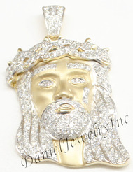 "New Jesus Piece Head Face Yellow Gold 1 1/4"" White Diamond 1.35ct 10k Custom"