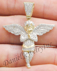 "New Angel Ice Yellow Gold 1 5/8"" White Diamond 1ct 14k Small Pendant Mini Charm"