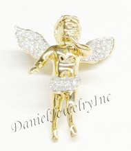 "New Angel Semi Ice Yellow Gold 1"" White Diamond .60ct 10k Micro Pendant Mini Charm"