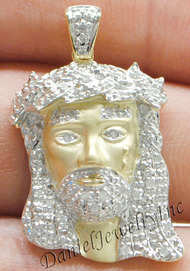 "New Jesus Piece Head Face Yellow Gold 1 1/4"" White Diamond .25ct 10k Custom"