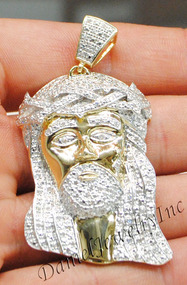 "New Jesus Piece Head Face Yellow Gold 2 1/4"" White Diamond .80ct 10k Custom Pendant"